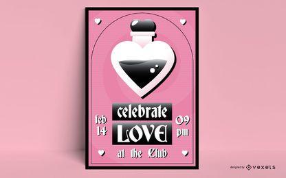 Modelo de cartaz do dia dos namorados