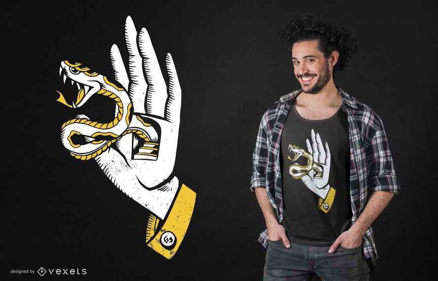 Hand with snake t-shirt design