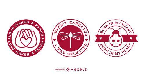 Conjunto de emblemas de adoção