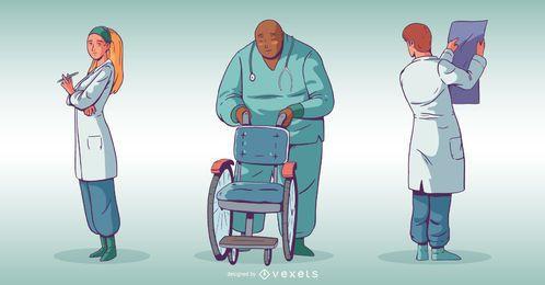 Conjunto de ilustração de pessoas de hospital