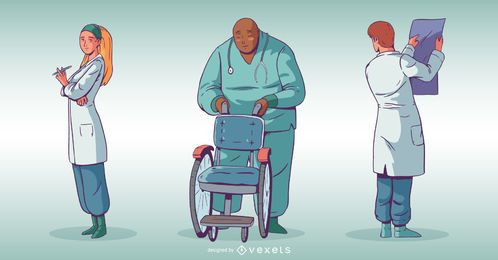 Hospital People Illustration Set
