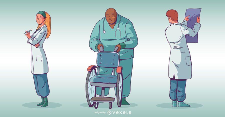Krankenhaus Menschen Illustration Set