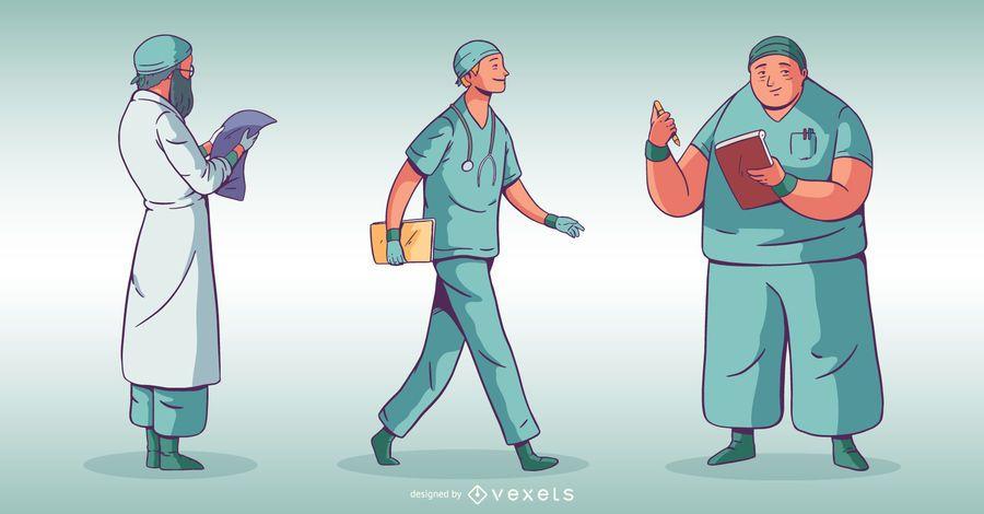 Conjunto de médico de pessoas do hospital