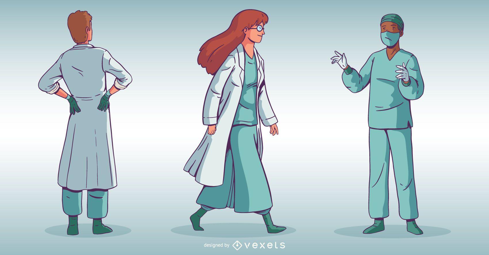 Conjunto de caracteres del personal médico