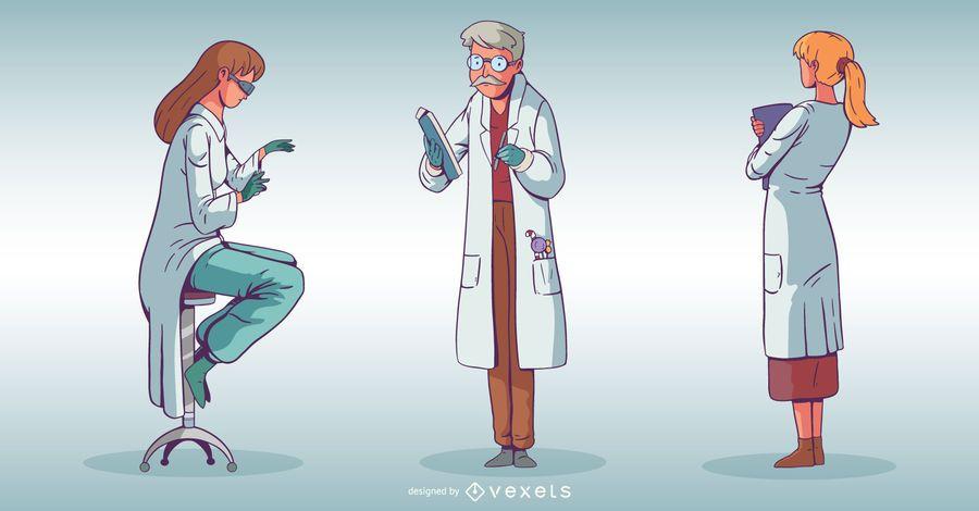 Conjunto de caracteres de personas de hospital