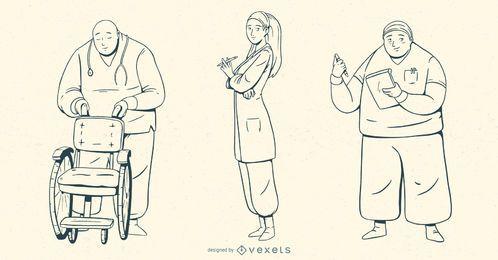 Krankenhaus Menschen Schlaganfall Illustration Set