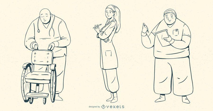 Hospital People Stroke Illustration Set