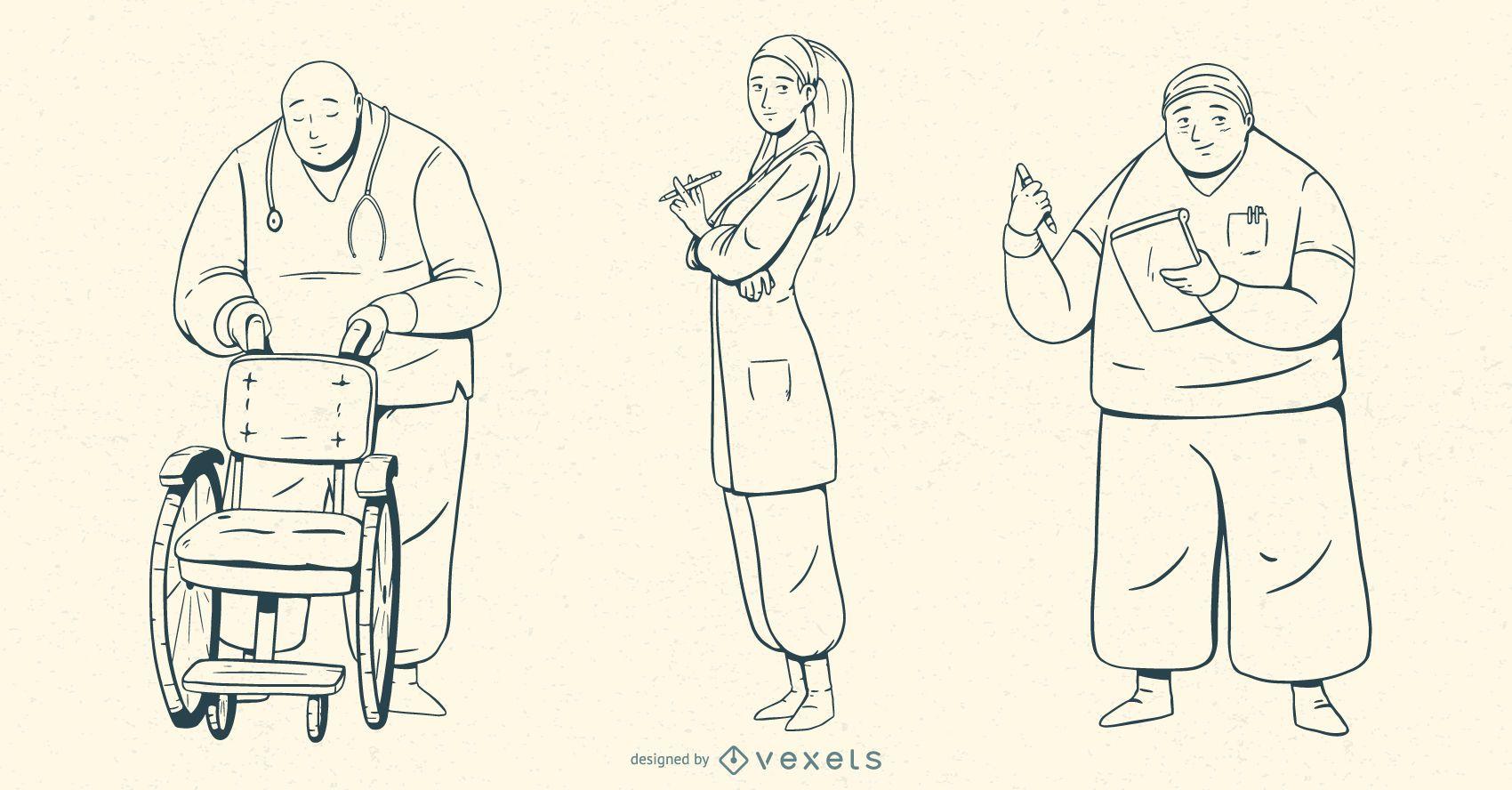 Conjunto de ilustración de trazo de gente de hospital