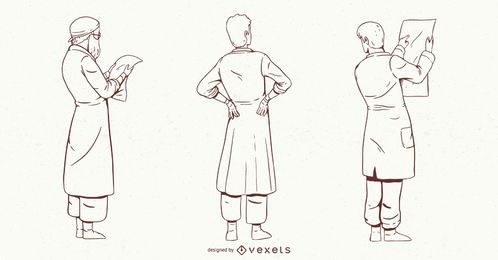 Conjunto de caracteres de doctor masculino