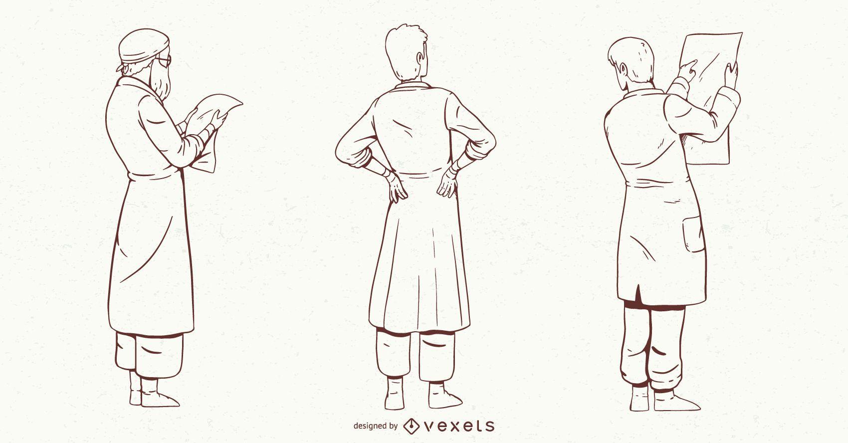 Conjunto de caracteres de médico masculino