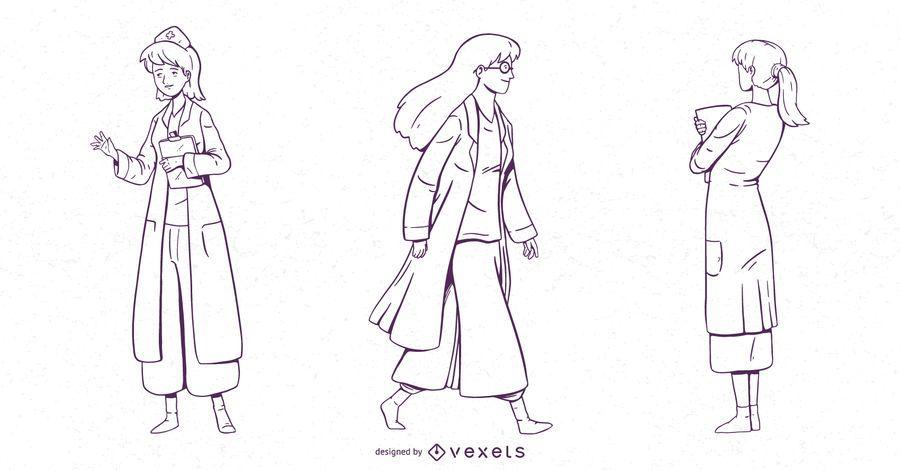Conjunto de caracteres médico feminino