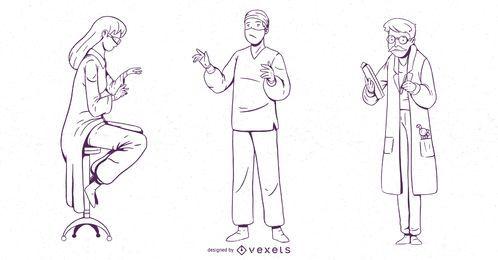Conjunto de diseño de trazo de personaje médico
