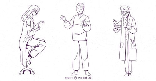 Doktor Character Stroke Design Set