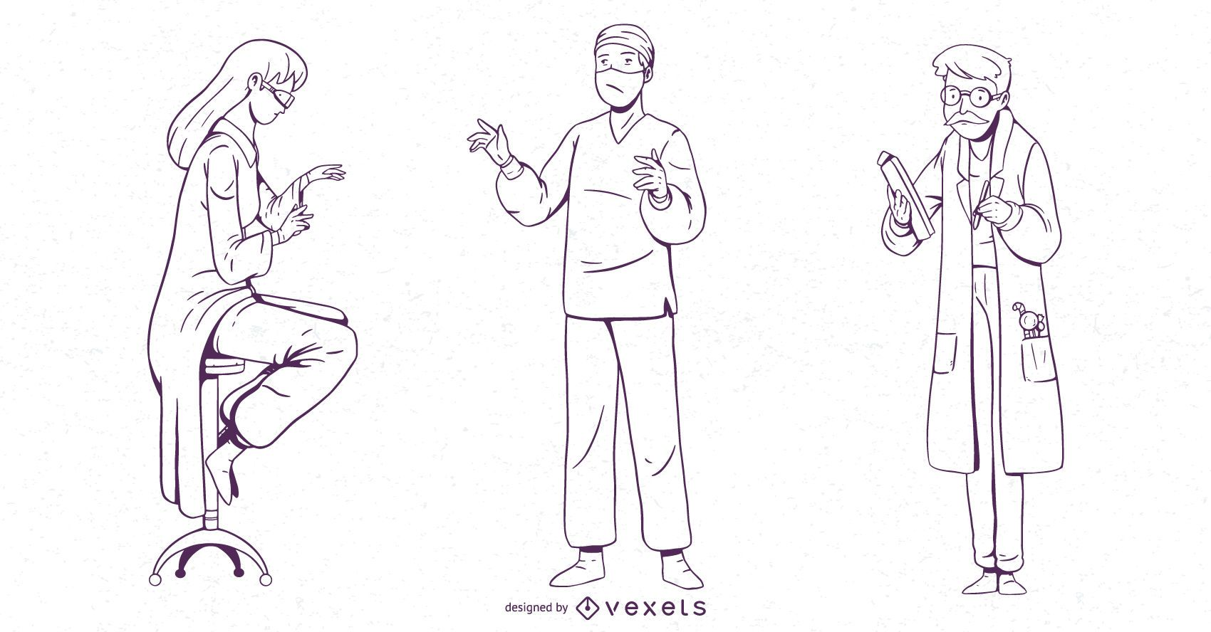 Doctor Character Stroke Design Set