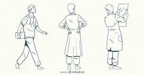 Männlicher Doktor Stroke Style Set