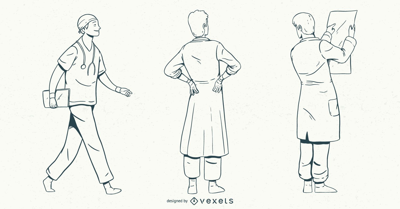 Conjunto de estilo de trazo médico masculino
