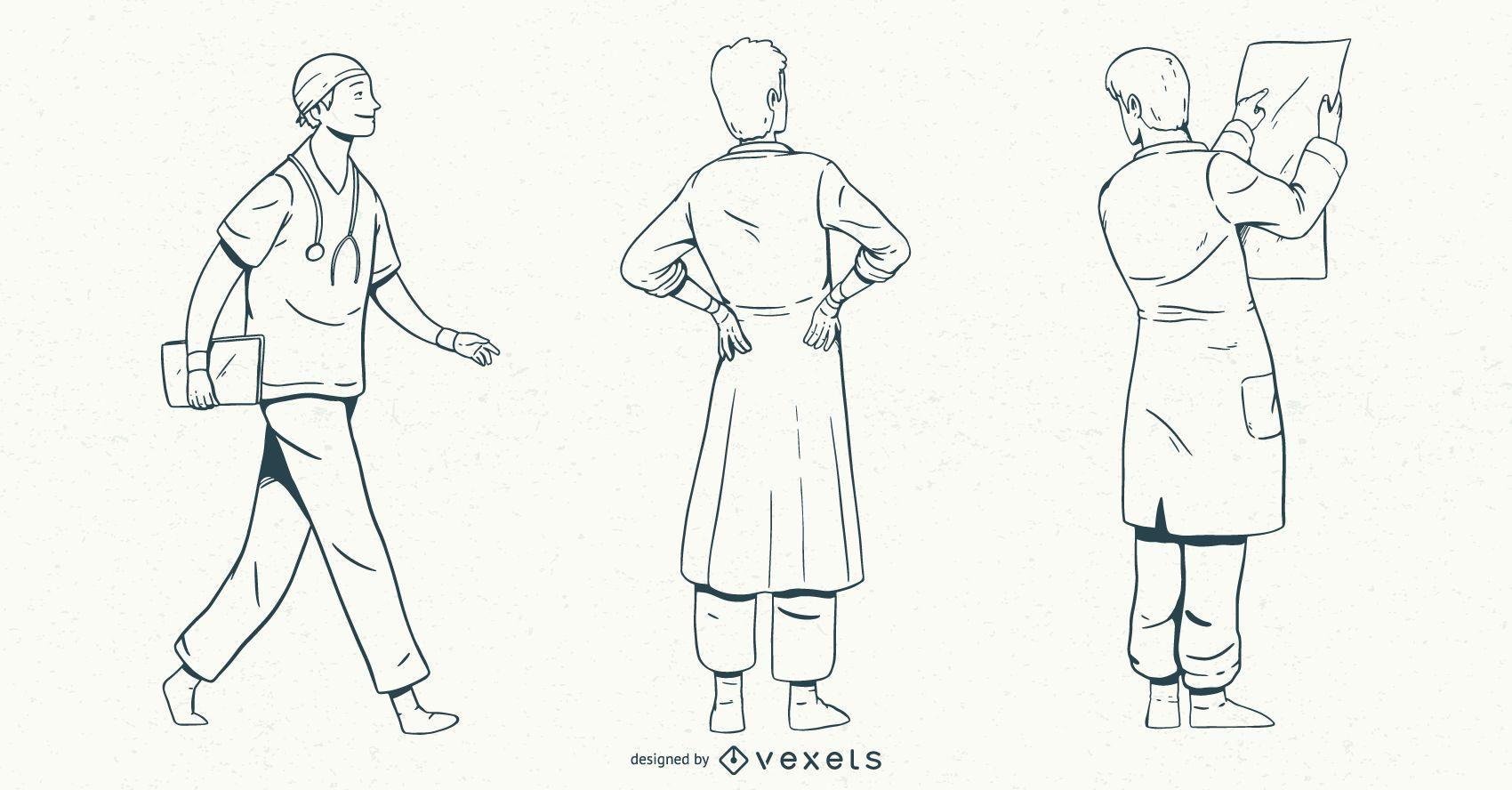 Male Doctor Stroke Style Set