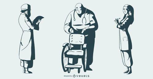 Conjunto monótono de pessoas do hospital