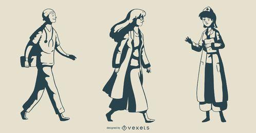 Conjunto de ilustración de doctor monótono