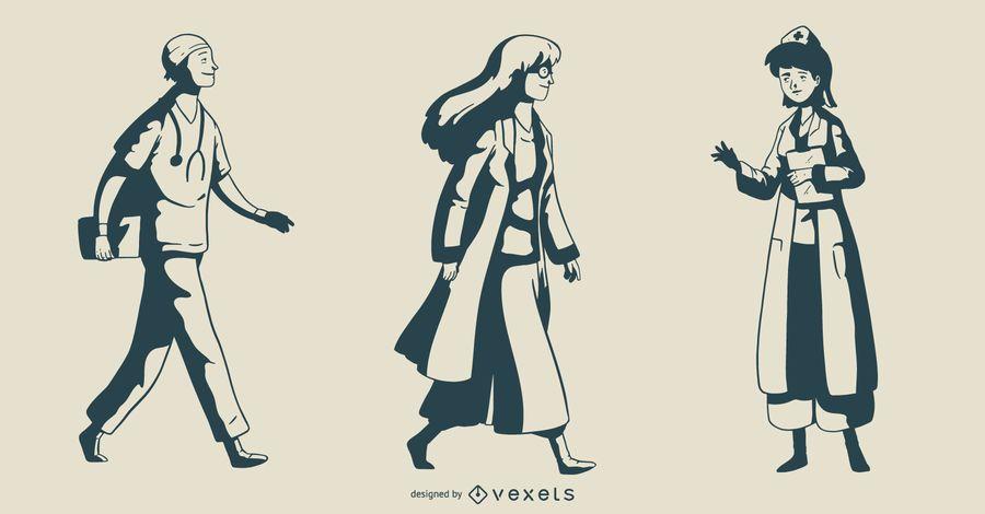Doctor Monotone Illustration Set