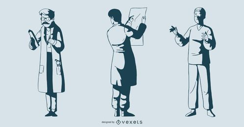 Male Doctor Monotone Illustration Pack