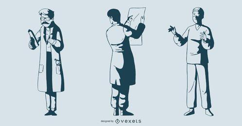 Paquete de ilustración de doctor masculino monótono