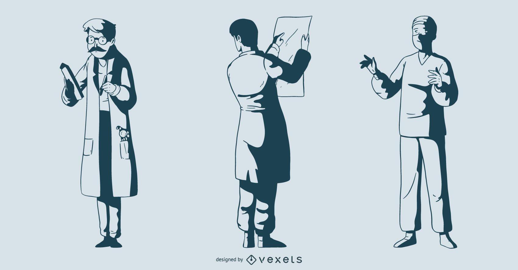 Male Doctor Monotone Illustration Pack