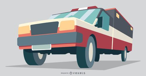 Ambulance Vehicle Flat Illustration