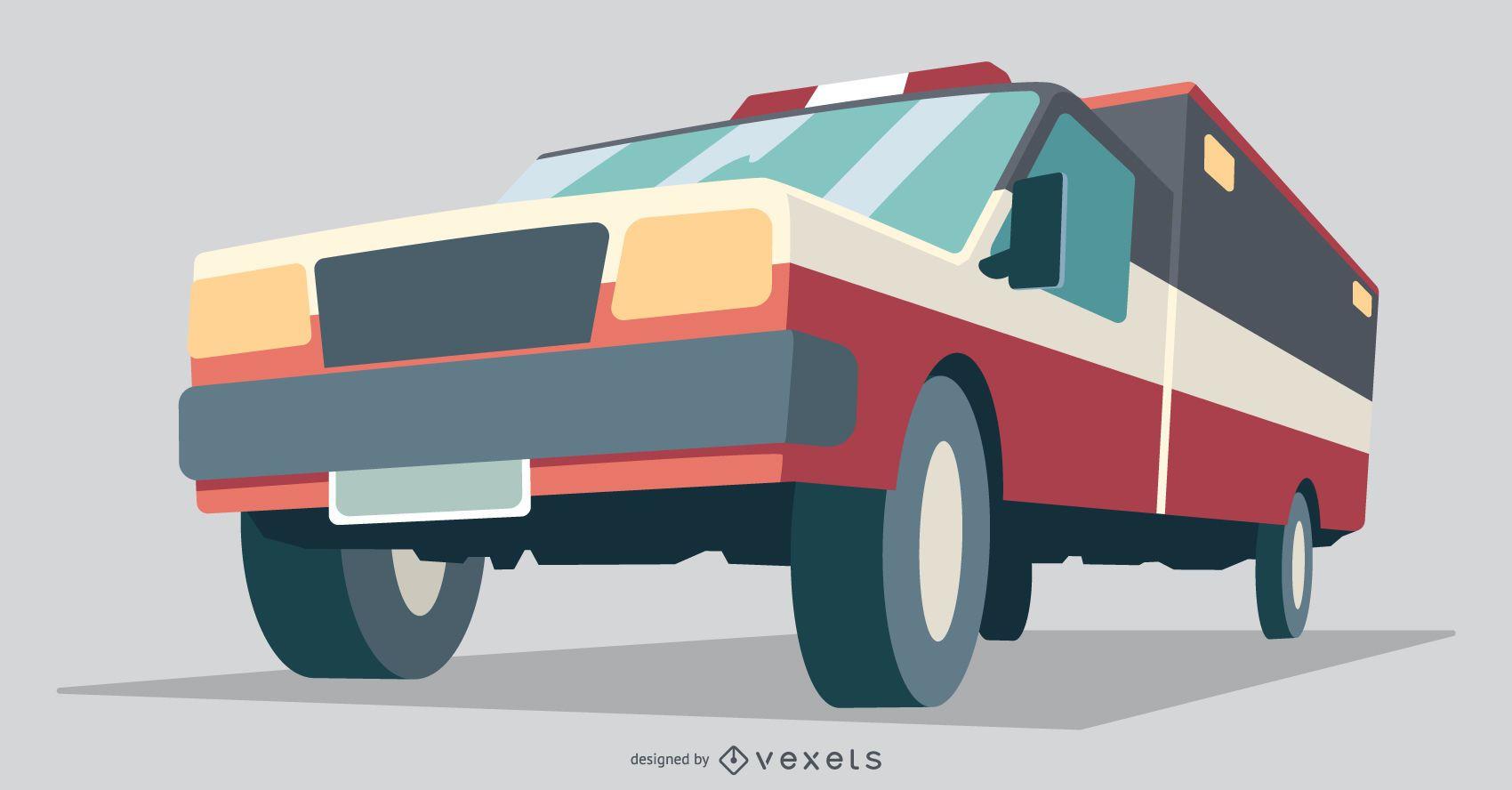 Ilustración plana de vehículo de ambulancia