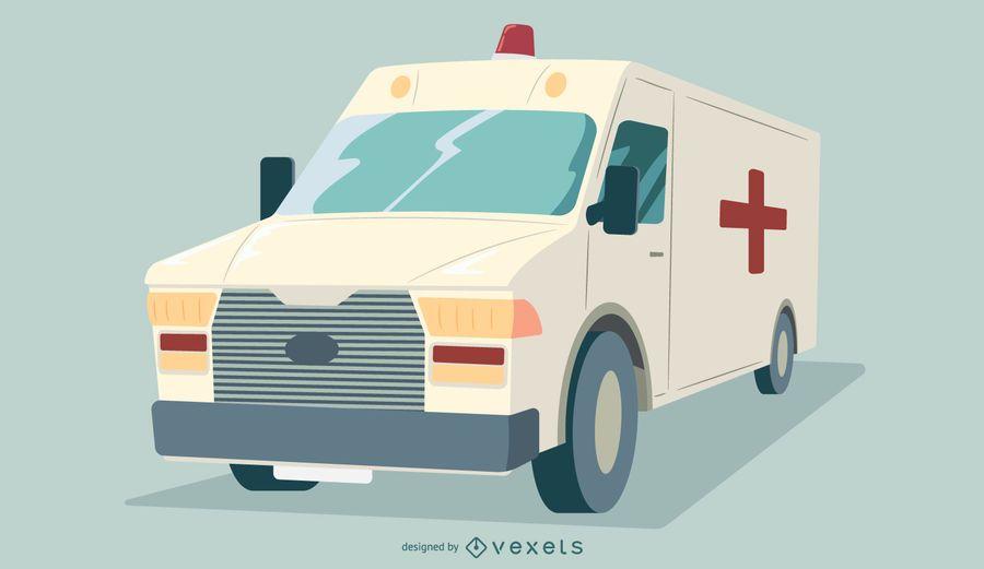 Design gráfico de caminhão de ambulância