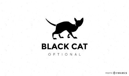 Design de logotipo de silhueta de gato preto