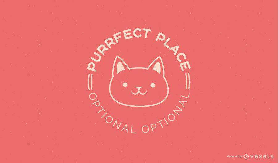 Design de modelo de logotipo de gatinho