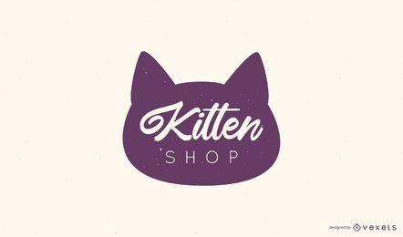 Design de logotipo de loja de gatinho