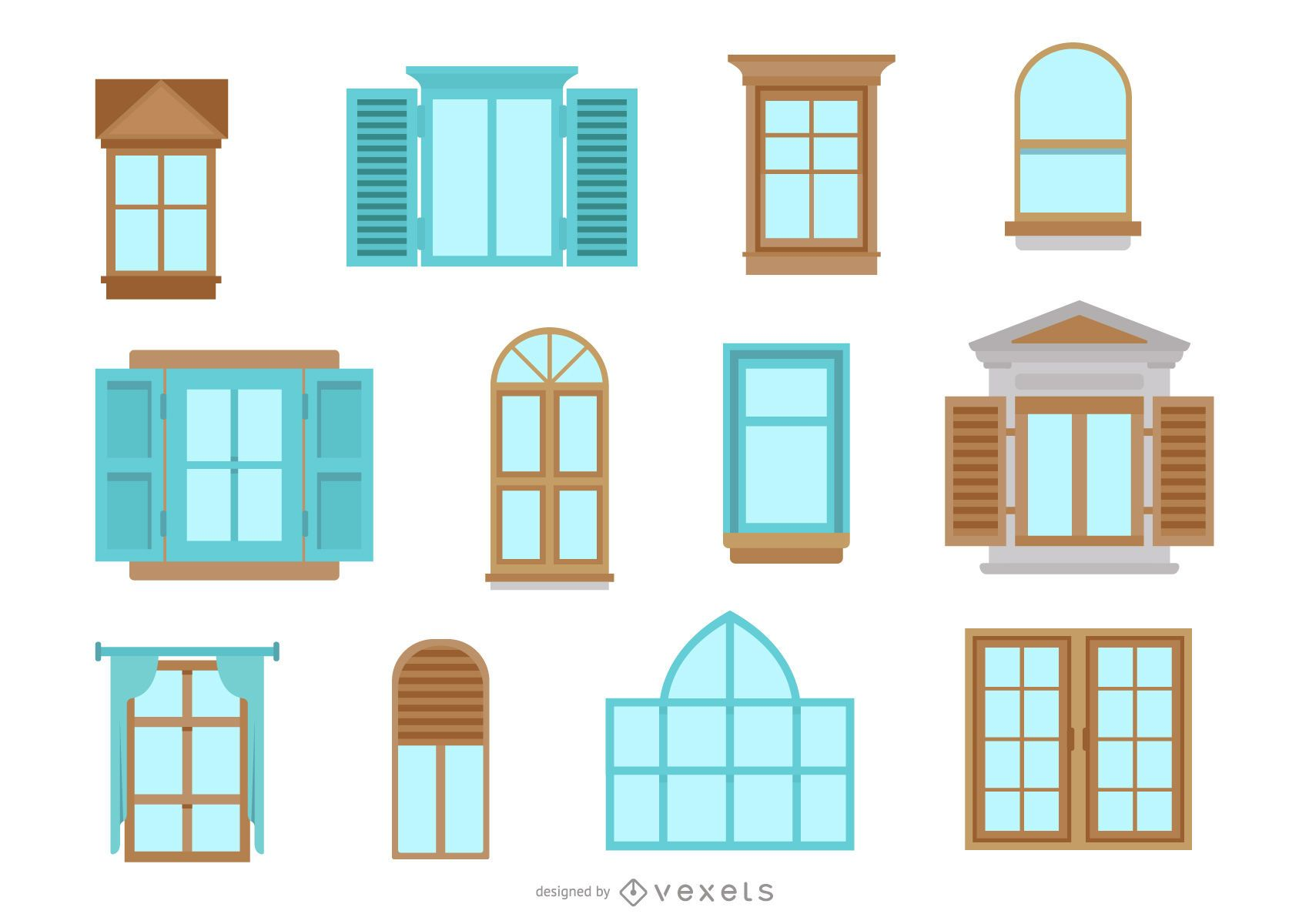 Paquete de diseño plano de Windows