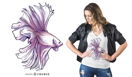 Design de t-shirt de peixe Betta