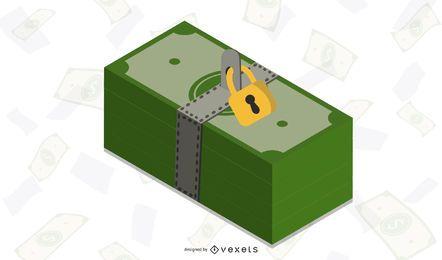 Dinero con cerradura de oro