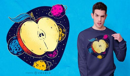Diseño de camiseta de manzana espacial
