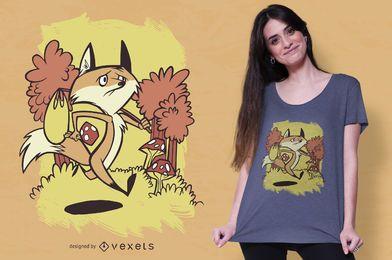 Design de camiseta triste raposa