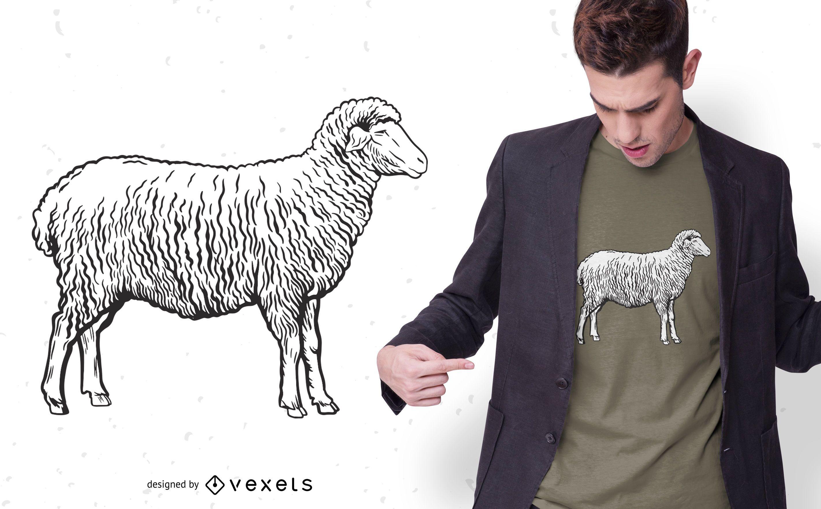 Diseño de camiseta de oveja