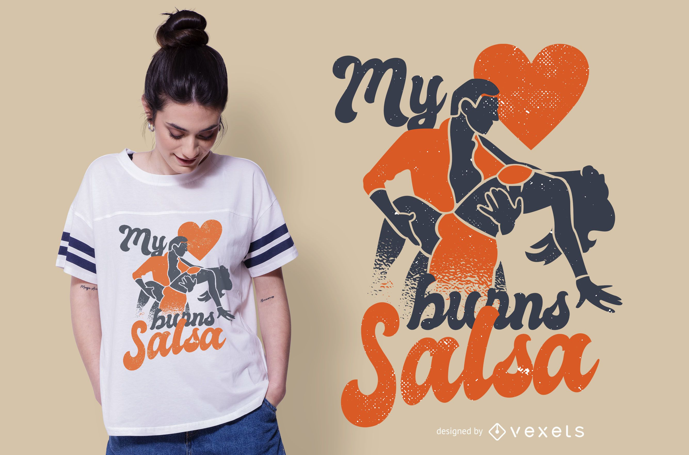 Salsa heart t-shirt design