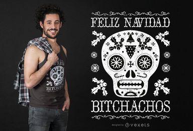 Diseño de camiseta navideña bitchachos.