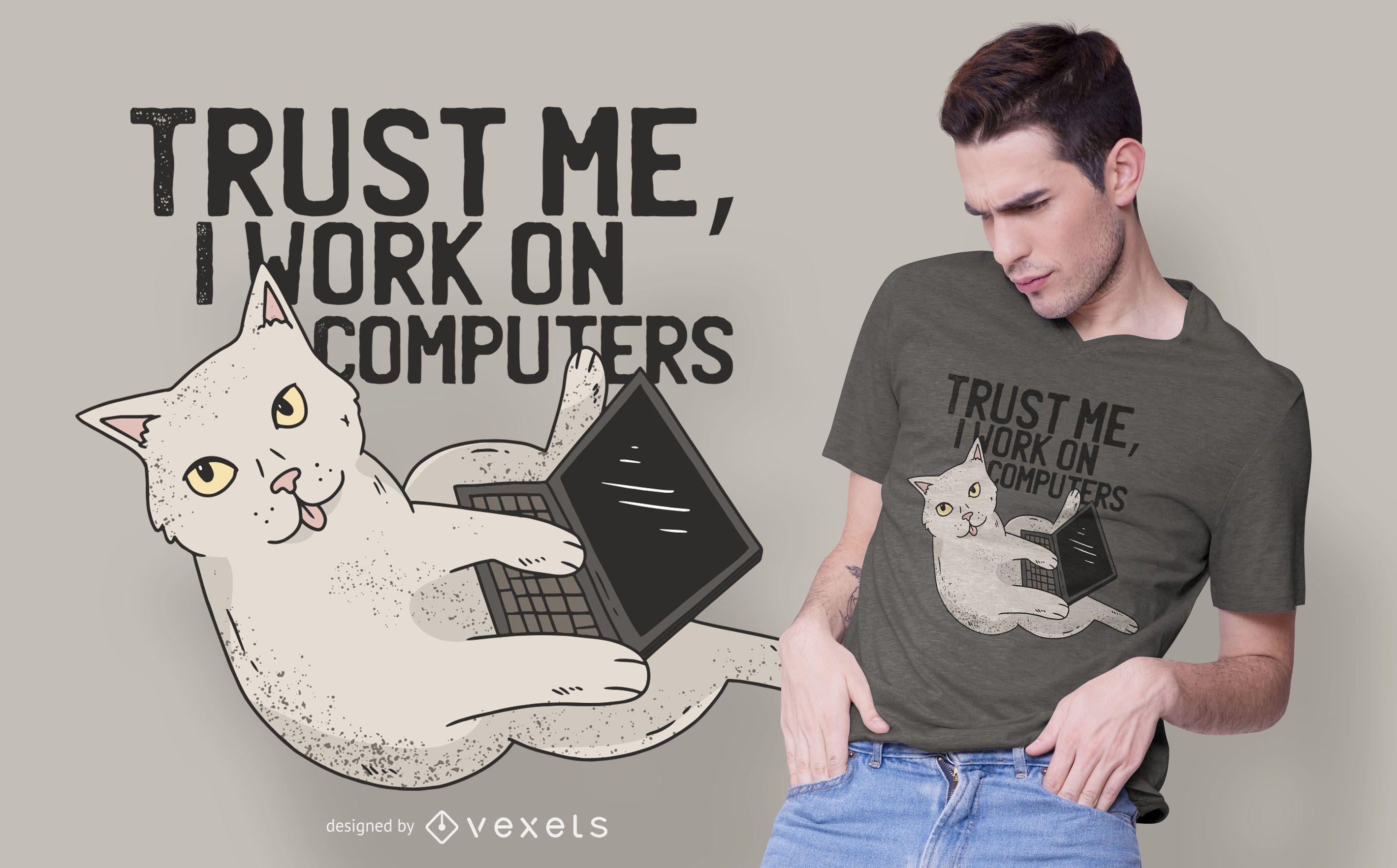 Computer cat t-shirt design