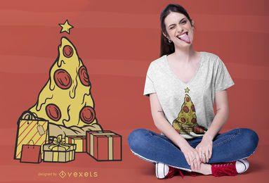 Diseño de camiseta navideña de pizza.