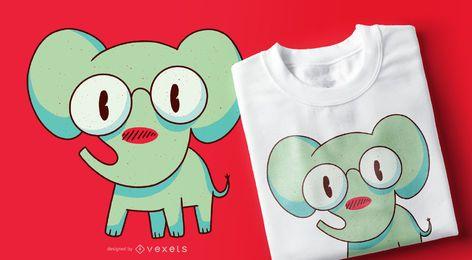 Diseño de camiseta de elefante inteligente