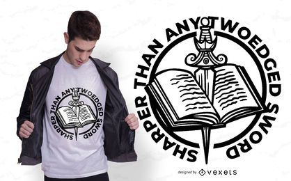 Diseño de camiseta de libro espada