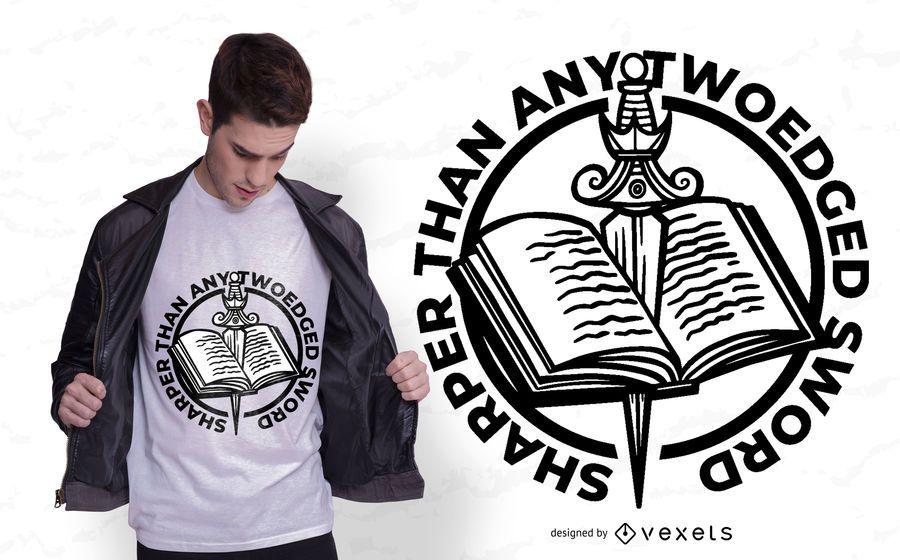 Diseño de camiseta de espada de libro
