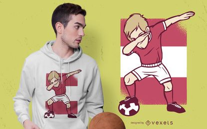 Fußballspieler, der T-Shirt Entwurf betupft
