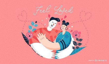 Sinta-se amado ilustração de dia dos namorados