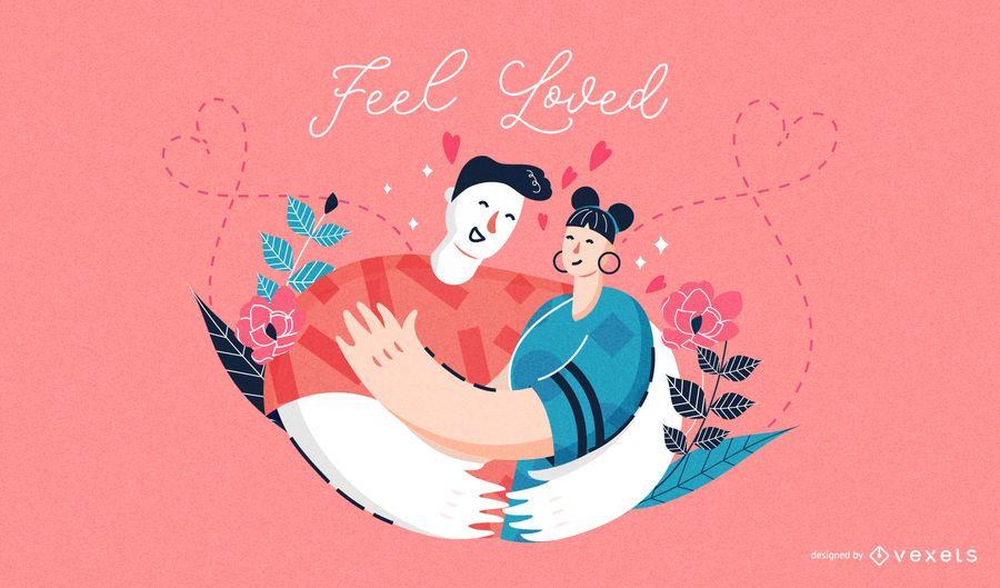 Feel loved valentines illustration