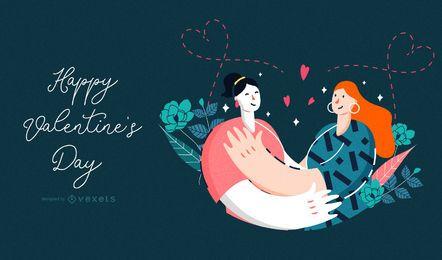 Ilustración de pareja feliz día de San Valentín